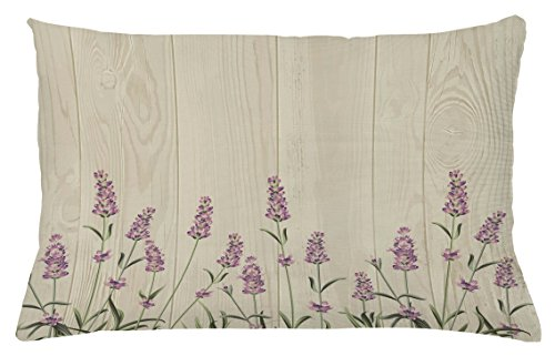 Lunarable Lavender Throw Pillow Cushion Cover, Aromatic Herbs on Wooden Planks Springtime Nature Botany Illustration, Decorative Accent Pillow Case, 26 W X 16 L Inches, Beige Lilac Sage - Springtime Throw