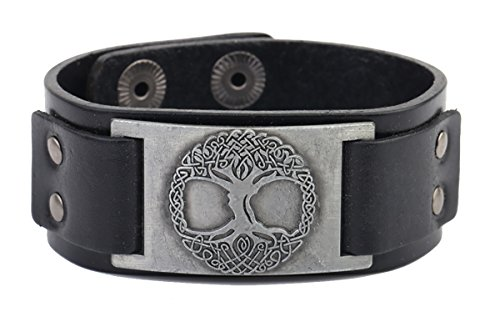 Vintage Button Bracelet (Vintage Bracelet Tree of Life Sigil Charm Snap Button Bangle Viking Runes Amulet Jewelry for Men and Women (Antique Silver,Black))