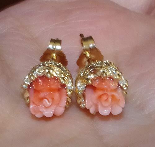 ANGEL SKIN CORAL 6MM PETITE CARVED ROSE FILIGREE 14K GOLD FILL STUD EARRINGS (14k Coral Earrings)