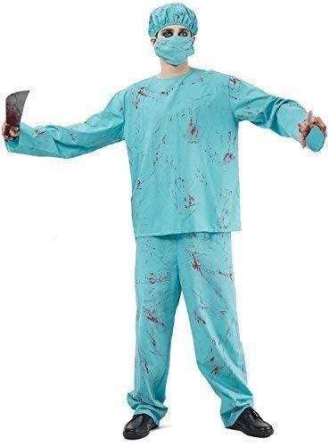 Mens 4 Piece Dead Zombie Bloody Surgeon Doctor Halloween Horror Fancy Dress Costume Outfit -