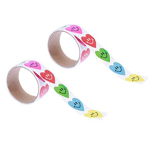 SUPVOX 2 Rolls Smile Face Heart Sticker Heart Valentine Stickers s for Valentine's Party Favor ()