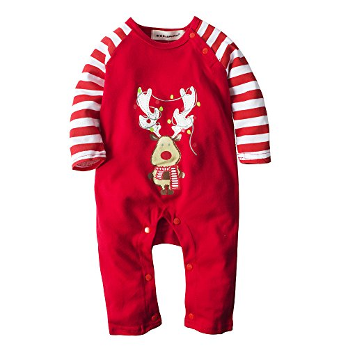 [Big Elephant Baby Boys' 1 Piece Christmas Cute Long Sleeve Romper Jumpsuit H20] (Christmas Outfits Baby)