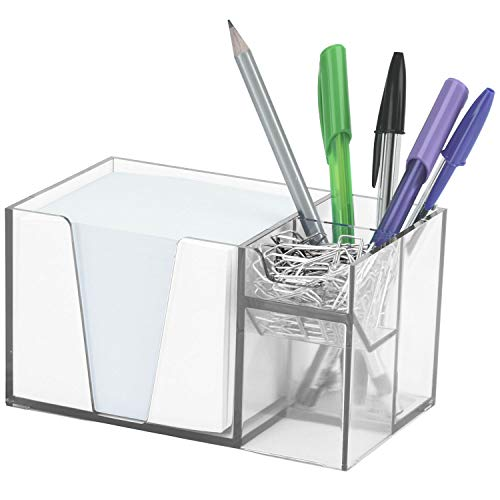 Acrimet Desk Organizer Pencil Paper Clip Holder (Clear Crystal Color) (with Paper)