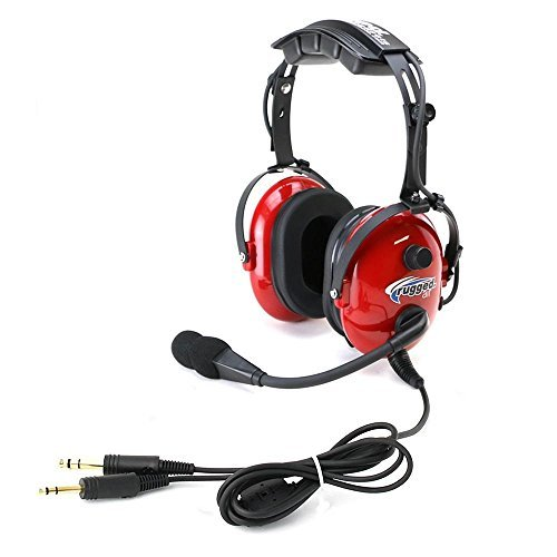 Rugged Air RA250 Red General Aviation Child Headset with 3.5mm Input Jack for Music and 24dB Noise Reduction Hearing Protection