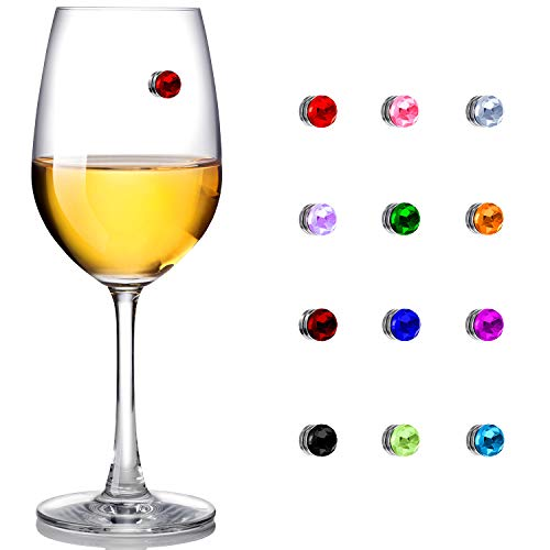 12 Pieces Colorful Crystal Magnetic Drink Markers Wine Glass Charm for Wine Glass Champagne Flutes Cocktails, Martinis (12)
