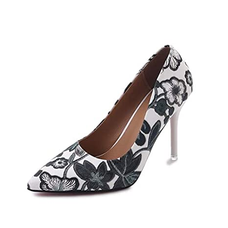 232c3dcd8b689 Amazon.com: HuWang Women Pumps High Heels Ladies Floral Printing ...