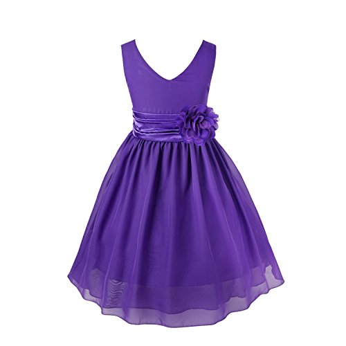 YiZYiF Kids Big Girls Double V neck Flower Dress Graduation with Sash Purple 4 (Toddler Fancy Dress)