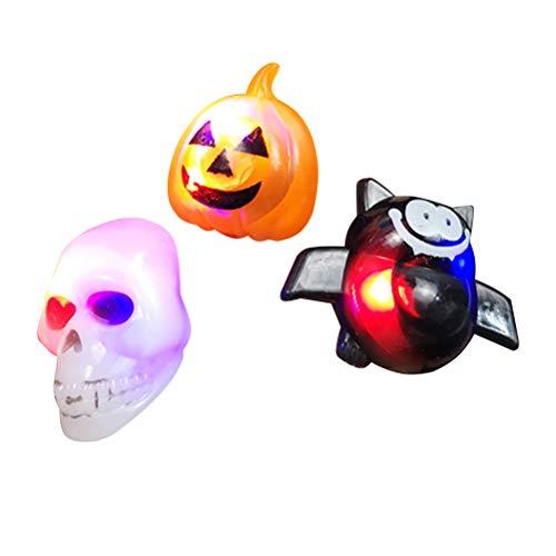 AMOSFUN Halloween LED Luminous Finger Ring Halloween Skull Pumpkin Bat Plastic Rings Halloween Toy for Kids Halloween Party Toy Accessories Favors -