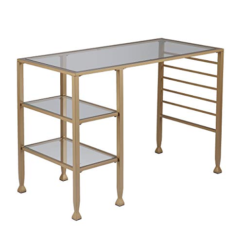 (Gold Glass Office Table - 2 Tier Design - Iron Metal & Glass Construction (Writing Desk))