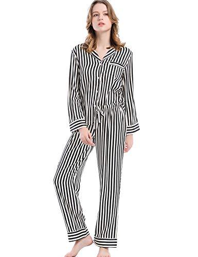 Serenedelicacy Women's Silky Satin Pajamas Long Sleeve PJ Set (Large / 12-14, Stripe Black Cream)