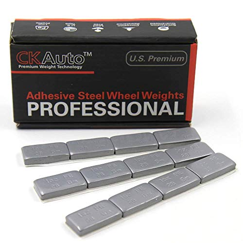 CK Auto 1oz, Grey, Adhesive Stick on Wheel Weights,EasyPeel Tape.Low Profile, 72 oz/Box, US Quality, (72pcs)