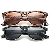 COASION Classic Polarized Sunglasses for Men Women Retro UV400 Brand Designer Sun Glasses (Matte Black Frame/Grey Lens + Tortoise Frame/Brown Lens)
