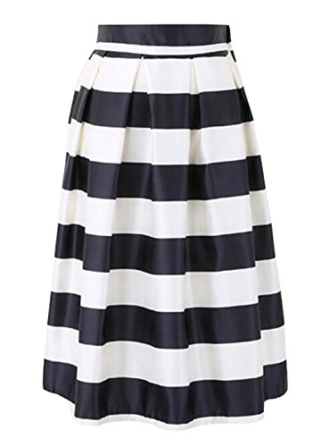 Aoliait Femme Jupe ImprimEs Vintage Jupe Plisse ElGant Jupe A-Line Slim Fit Femelle Skirt Fashion Jupe De Cocktail Beau Jupe White
