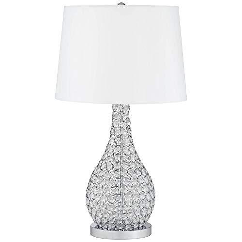 Kasey Modern Table Lamp Crystal Beaded Silver Gourd White Drum Shade for Living Family Room Bedroom Bedside - Possini Euro Design