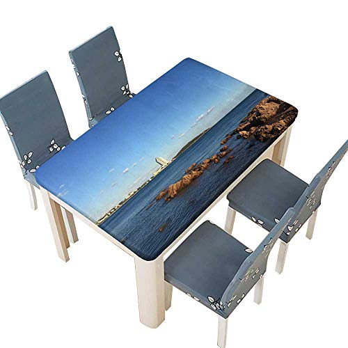 PINAFORE Table in Washable Polyeste Qingdao Under The Blue Sky Banquet Wedding Party Restaurant Tablecloth W65 x L104 INCH (Elastic Edge)