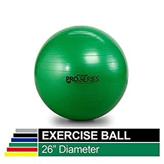 """TheraBand Exercise Ball, Professional Series Stability Ball with 65 cm Diameter for Athletes 5'7"""" to 6'1"""" Tall, Slow Deflate Fitness Ball for Improved Posture, Balance, Yoga, Pilates, Core, Green"""