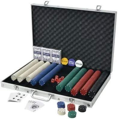 Soulong Pokerset met 1000 chips Pokerset met 3 kaartdecks en 6 kubussen, 1 dealer button, met aluminium koffer