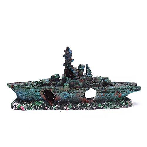 Efivs Arts Resin Big Size Warship Wreckage Aquarium Decoration Broken Boat Fish Tank Ornament Landscape Decor -