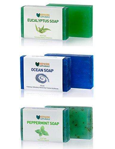 Eucalyptus Ocean Peppermint Refreshing Soap Bar Trio Natural Glycerin Soap (Pack of 3)