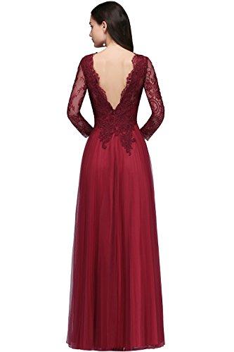 Langarm Ballkleider Brautmutterkleider Tüll Damen V Abendkleider Elegant Ausschnitt Weinrot Maxilang MisShow Spitzen IqpfwCzf