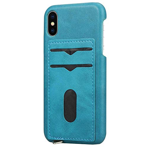 - SUNLMG iPhone X Leather Case with Cards Holder Vintage Wallet Case Ultra Slim Professional Executive Snap On Back Cover with 2 ID Credit Card Slots Holder for Iphonexs/XR/XS MAX (Blue),Blue,XR