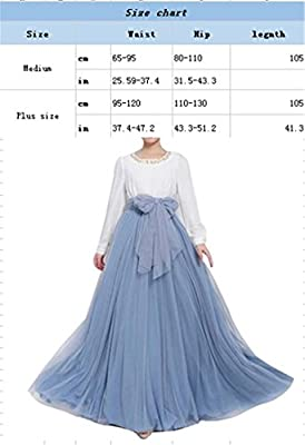 Women Wedding Long Maxi Puffy Tulle Skirt Floor Length A Line with Bowknot Belt High Waisted for Wedding Party Evening
