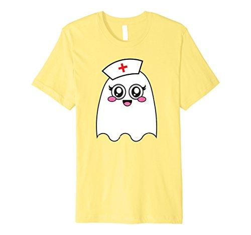 Medical School Costume Ideas (Mens Cute Emoji Ghost Nurse Shirt Face Kawaii Premium Shirts XL Lemon)