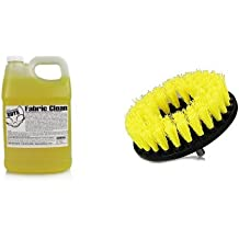 Chemical Guys CWS_103 Fabric Clean Carpet and Upholstery Shampoo and Odor Eliminator (1 Gal) and Chemical Guys ACC_201_BRUSH_MD Medium Duty Carpet Brush with Drill Attachment, Yellow Bundle