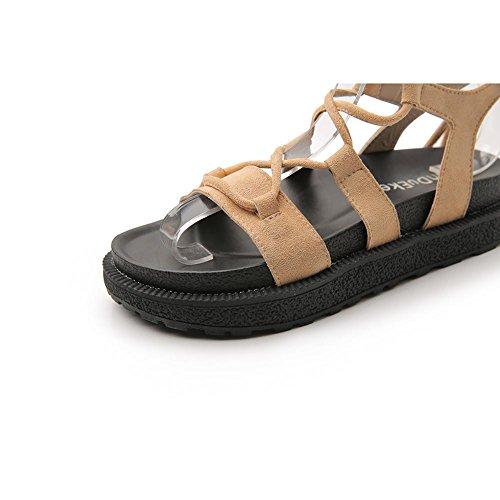 Peep el Tacón Mujer Para Zapatos L Accesorios apricot Borlas Chanclas Sandalias Tobillo KJJDE de Toe hah Correa Caminar de Zapatilla Personalidad Confort K8 Para 1qOpSxZ5