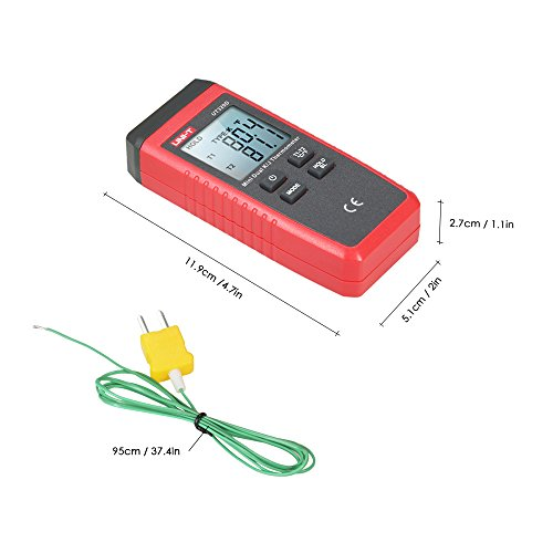 UNI-T UT320D Mini LCD Digital Thermometer 2-Channel Type K/J Thermocouple Sensor -50~1300°C/-58~2372°F Data Hold Function by UNI-T (Image #2)
