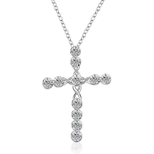 Female Superhero Costumes Tumblr (Usstore 1PC Women Silver Crystal Rhinestone Cross Pendants Statement Chain Necklace Alloy Gift)