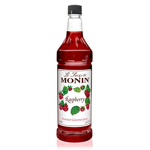 Monin - Raspberry Syrup, Sweet and Tart, Great for Cocktails and Lemonades, Gluten-Free, Vegan, Non-GMO (1 Liter) ()