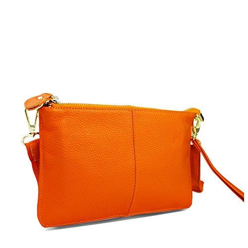 cruzados para naranja piel de Bolso auténtica TOPSHINE mujer Awq5agB1x
