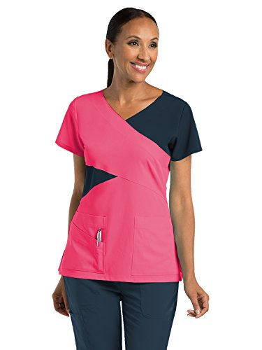 Grey's Anatomy Signature 2140 Contrast Mock Wrap Top Chateau Rose/Graphite XS