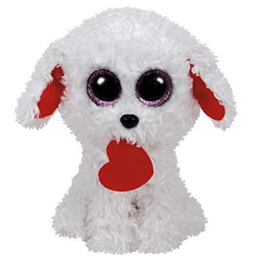 Ty Honey Bun Dog with Heart Plush, White, Regular