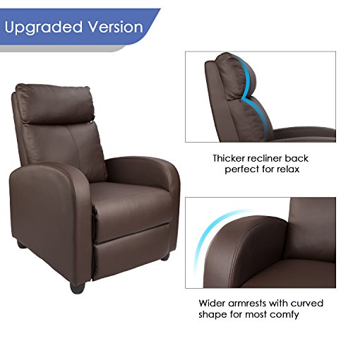 Homall Manual Recliner Chair Padded PU Leather Home Theater Seating ...