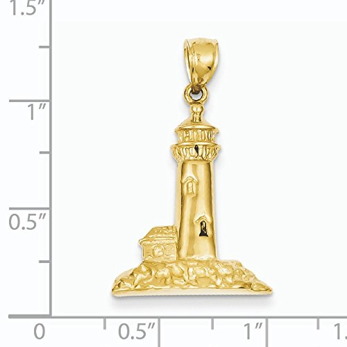 Or poli 14 carats Phare Pendentif - Mesures 32,2 x 19.1 mm