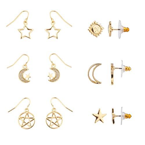 Lux Accessories Cutout Star Crescent Moon Galaxy Pentagram Sun Face Multiple Earring Set