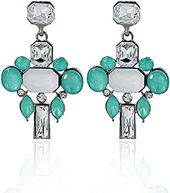 GLJIJID Pendientes Geométricos Cuadrados De Piedras Preciosas, Pendientes De Diamantes De Color De Boutique De Mujeres, Te Hacen Más Hermoso Verde