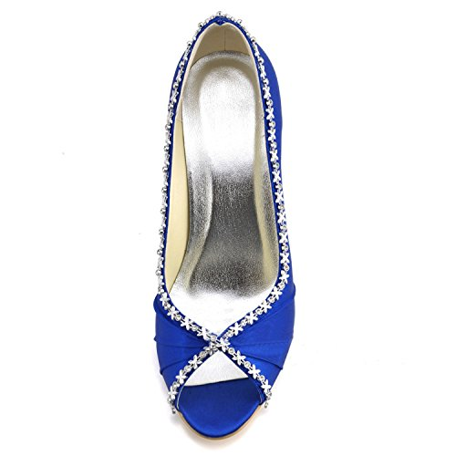 Toe Bridal Blue High GYMZ623 Shoes Wedding Womens Open 9cm Minishion Heel Heel Rhinestone Satin aZSAwqtxnx