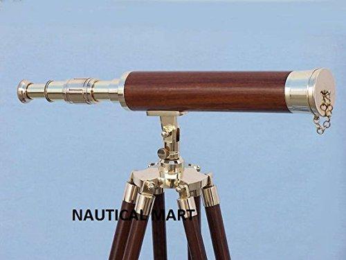 Nauticalmart 50'' Floor Standing Leather Brass Harbor Telescope by Nauticalmart Telescope with Free Mercury Vase by NAUTICALMART