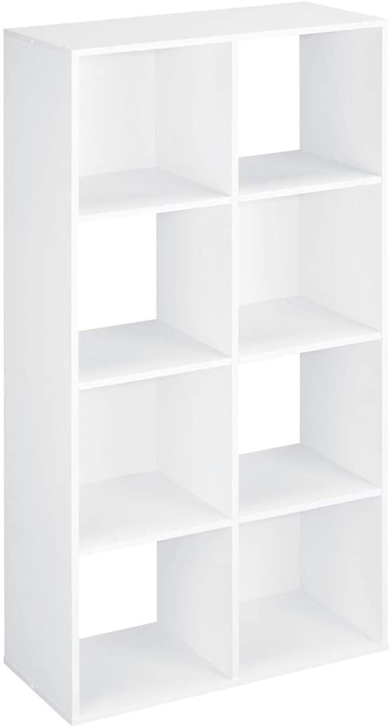 Closetmaid's 8 cube organizer can store any number of things in a variety of ways and has a unique design where some cubes are open revealing the wall behind it. #closetmaid #storagetower #storagecubes #homedecor #organization