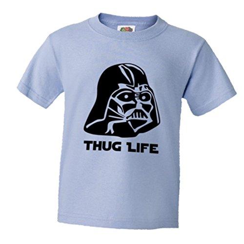 PleaseMeTees Youth Darth Vader Thug Life Star Wars Soft HQ Tee - Light Blue