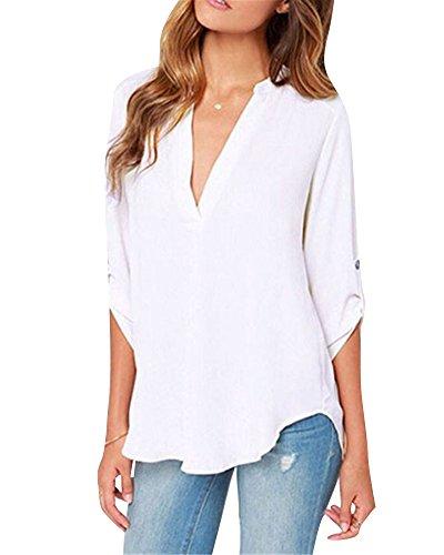 Chemisier Shirts Longues Femme Elgant Casual Slim Hauts Uni Blanc Tops Blouse Manches Col V Tunique Blouse 66qaz5rpn