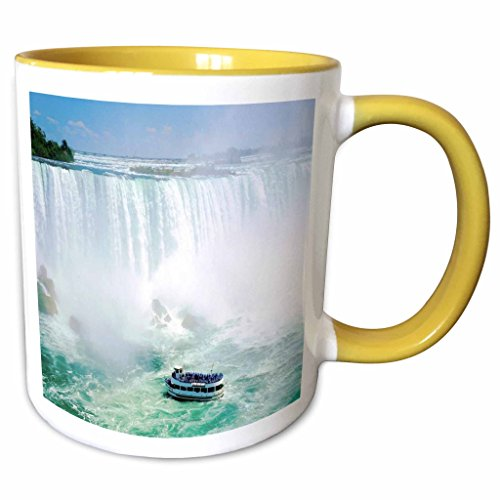 3dRose Florene Water Landscape - Maid Of The Mist Boat Under Niagra Falls - 11oz Two-Tone Yellow Mug - Falls Outlet Niagra