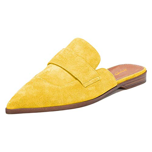 XYD Womens Retro Backless Slip On Loafer Flats Pointed Toe Mules Low Heel Dress Slipper Shoes Size 9 Yellow