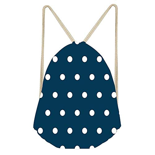 Prussian Blue Navy Blue & White Polka Dots Drawstring Bags for Women Adult,Sinch Sack Cinch Bags Backpacks for Picnic Gym Beach Travel