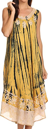 Sakkas 15009 - Alexis Embroidered Long Sleeveless Floral Caftan Dress/Cover Up - Mustard Yellow - OS ()