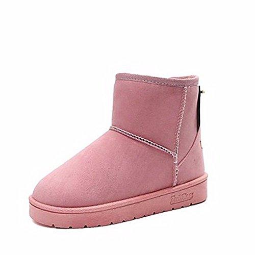 amp; Pink Partie Femmes Zhudj Pour Noir Bout Soir Talon Neige Bottes D'hiver Gris Rond Plat Rouge Une Chaussures Rose pqUFPp7