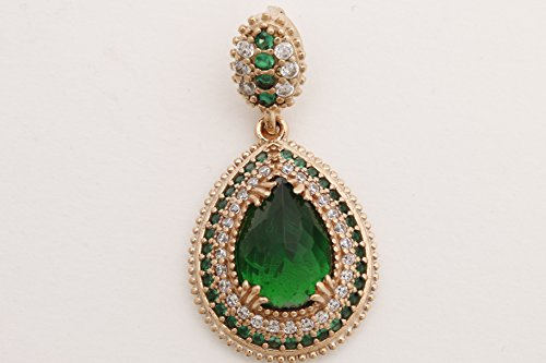 Turkish Handmade Jewelry Drop Shape Pear Cut Emerald and Round Cut Topaz 925 Sterling Silver Pendant